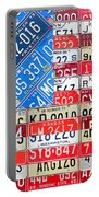 American Flag Recycled License Plate Art Portable Battery Charger