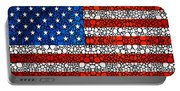 American Flag - Usa Stone Rock'd Art United States Of America Portable Battery Charger