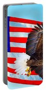 American Flag With Bald Eagle Portable Battery Charger