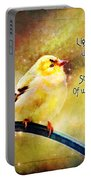 American Goldfinch Gazes Upward  - Series II  Digital Paint With Verse Portable Battery Charger