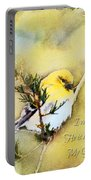 American Goldfinch On A Cedar Twig With Digital Paint And Verse Portable Battery Charger