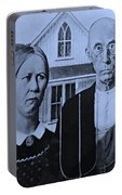 American Gothic In Cyan Portable Battery Charger