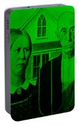American Gothic In Green Portable Battery Charger