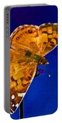 American Lady Butterfly Blue Square Portable Battery Charger