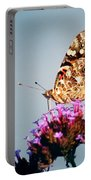 American Painted Lady Butterfly Blue Background Portable Battery Charger