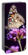 American Painted Lady Butterfly Purple Background Portable Battery Charger