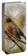 American Robin On A Branch Portable Battery Charger