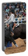 American Rodeo Female Barrel Racer Dark Horse I Portable Battery Charger by Sally Rockefeller