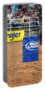 American Rodeo Female Barrel Racer White Star Horse I Portable Battery Charger by Sally Rockefeller