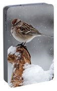 American Tree Sparrow In Snow Portable Battery Charger