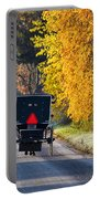 Amish Buggy And Yellow Leaves Portable Battery Charger