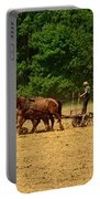 Amish Farmer Tilling The Fields Portable Battery Charger