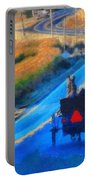 Amish Horse And Buggy In Autumn Portable Battery Charger