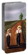 Amish Road Portable Battery Charger by Linda Simon
