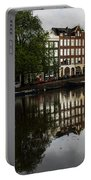 Amsterdam Canal Houses In The Rain Portable Battery Charger