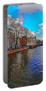 Amsterdam Canal In Spring Portable Battery Charger