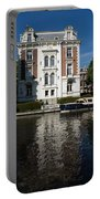Amsterdam Canal Mansions - Bright White Symmetry  Portable Battery Charger