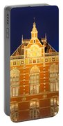 Amsterdam Central Train Station At Night Portable Battery Charger