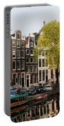 Amsterdam Houses Along The Singel Canal Portable Battery Charger