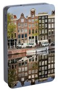 Amsterdam Houses By The Singel Canal Portable Battery Charger
