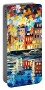 Amsterdam's Harbor - Palette Knife Oil Painting On Canvas By Leonid Afremov Portable Battery Charger