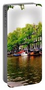 Amsterdams Westerkerk From The Canal  Portable Battery Charger