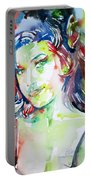 Amy Winehouse Watercolor Portrait.1 Portable Battery Charger