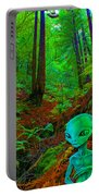An Alien In A Cosmic Forest Of Time Portable Battery Charger