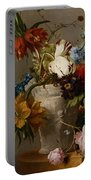 An Arrangement With Flowers Portable Battery Charger by Georgius Jacobus Johannes van Os