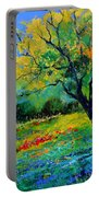 An Oak Amid Flowers In Texas Portable Battery Charger