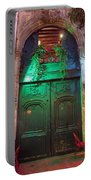 An Old Ornate Wooden Door In Paris France Portable Battery Charger