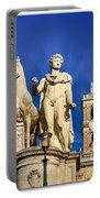 Ancient Marble Sculpture Of Castor At The Cordonata Stairs  Portable Battery Charger