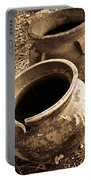 Ancient Pottery In Sepia Portable Battery Charger