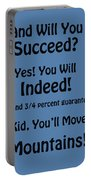 And Will You Succeed - Dr Seuss - Blue Portable Battery Charger