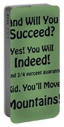 And Will You Succeed - Dr Seuss - Sage Green Portable Battery Charger