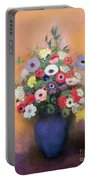 Anemones And Lilac In A Blue Vase Portable Battery Charger