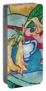 Angel's Trumpet Flowers And A Ukulele Portable Battery Charger