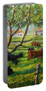 Angus Cows Under The Cool Shade By Prankearts Portable Battery Charger