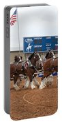 Anheuser Busch Clydesdales Pulling A Beer Wagon Usa Rodeo Portable Battery Charger