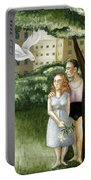Annunciation With Burning Building Portable Battery Charger by Caroline Jennings