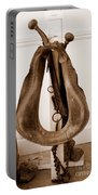 Antiquated Horse Collar In Sepia Portable Battery Charger