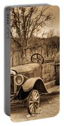 Antique Car At Service Station In Sepia Portable Battery Charger