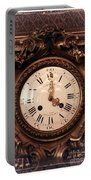Antique Clock In Sepia Portable Battery Charger