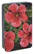Antique Hibiscus Black 3 Portable Battery Charger