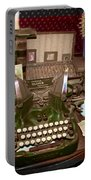 Antique Oliver Typewriter On Old West Physician Desk Portable Battery Charger by Janice Rae Pariza