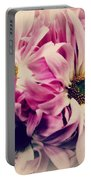 Antique Pink And White Daisies Portable Battery Charger
