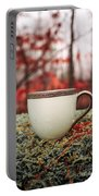 Antique Teacup In The Woods Portable Battery Charger by Edward Fielding