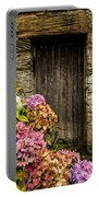Antique Wooden Door And Hortensia Portable Battery Charger