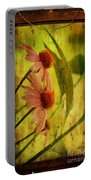 Antiqued Cone Flowers Portable Battery Charger