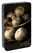 Apple Still Life Black And White Portable Battery Charger